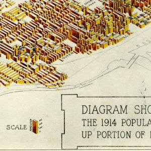 Diagram showing in isometric projection the 1914 population density per acre for the built up portion of each block within the city limits.