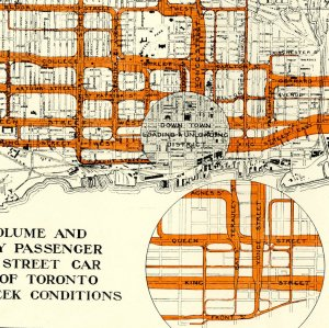 Diagram Showing Volume and Distribution of Daily Passenger Traffic on Various Street Car Routes in the City of Toronto under normal midweek conditions during August 1915.