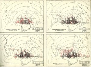 Distribution of Population for 1889, 1904, 1899, and 1909.
