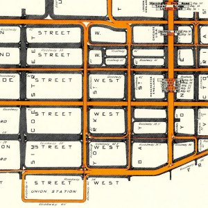 Diagram showing the number of street cars and vehicles in the downtown district of Toronto (1915).